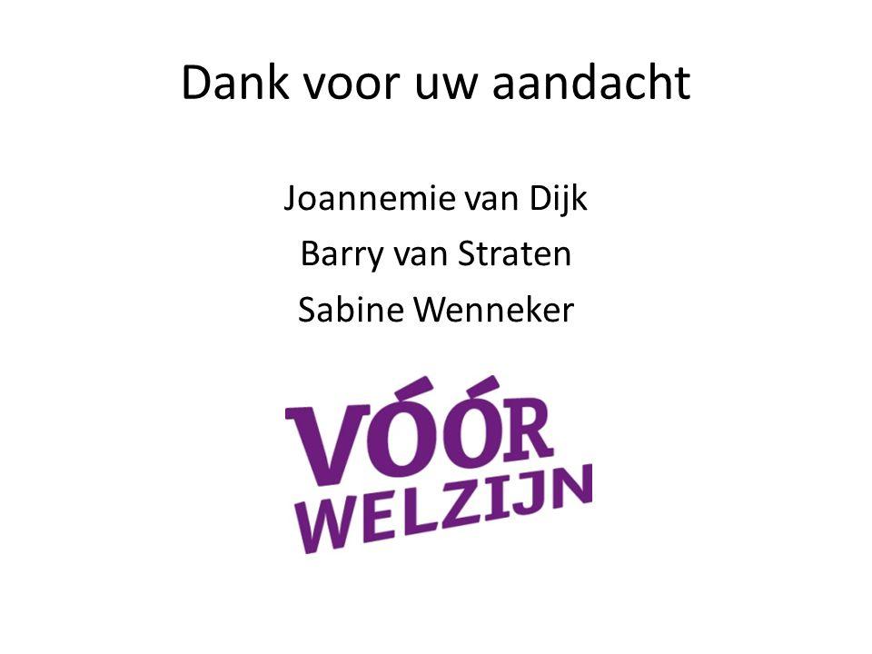 Dank voor uw aandacht Joannemie van Dijk Barry van Straten Sabine Wenneker
