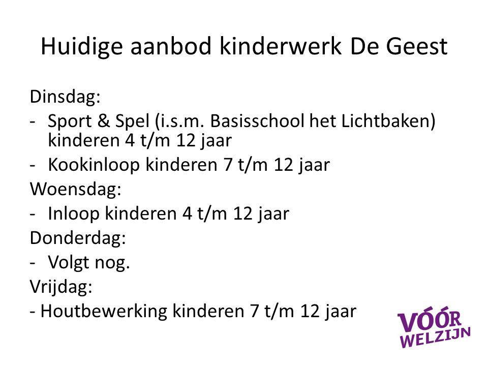 Huidige aanbod kinderwerk De Geest Dinsdag: -Sport & Spel (i.s.m.