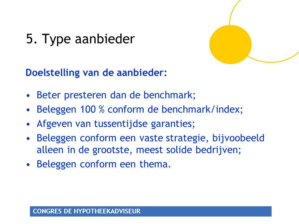 CONGRES DE HYPOTHEEKADVISEUR 5. Type aanbieder Doelstelling van de aanbieder: •Beter presteren dan de benchmark; •Beleggen 100 % conform de benchmark/