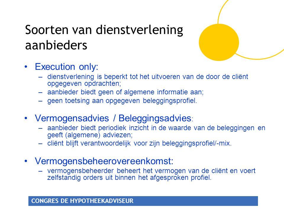 CONGRES DE HYPOTHEEKADVISEUR •Execution only: –dienstverlening is beperkt tot het uitvoeren van de door de cliënt opgegeven opdrachten; –aanbieder bie