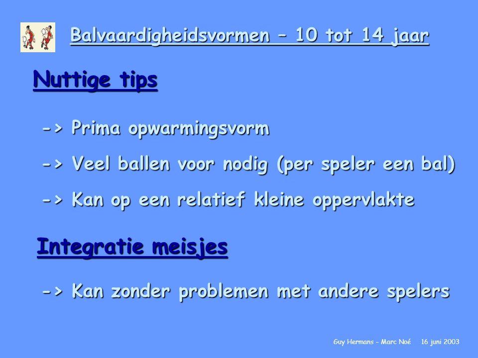 Balvaardigheidsvormen – 10 tot 14 jaar Nuttige tips -> Prima opwarmingsvorm -> Veel ballen voor nodig (per speler een bal) -> Kan op een relatief klei