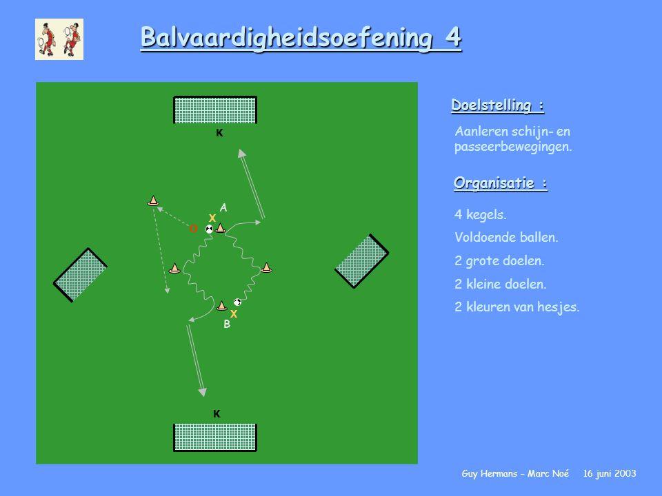 Balvaardigheidsoefening 4 Doelstelling : Aanleren schijn- en passeerbewegingen. Organisatie : 4 kegels. Voldoende ballen. 2 grote doelen. 2 kleine doe
