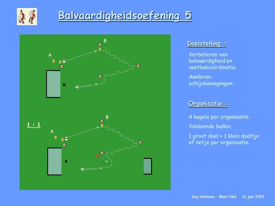 Balvaardigheidsoefening 5 Doelstelling : Verbeteren van balvaardigheid en voetbalcoördinatie. Aanleren schijnbewegingen. Organisatie : 4 kegels per or