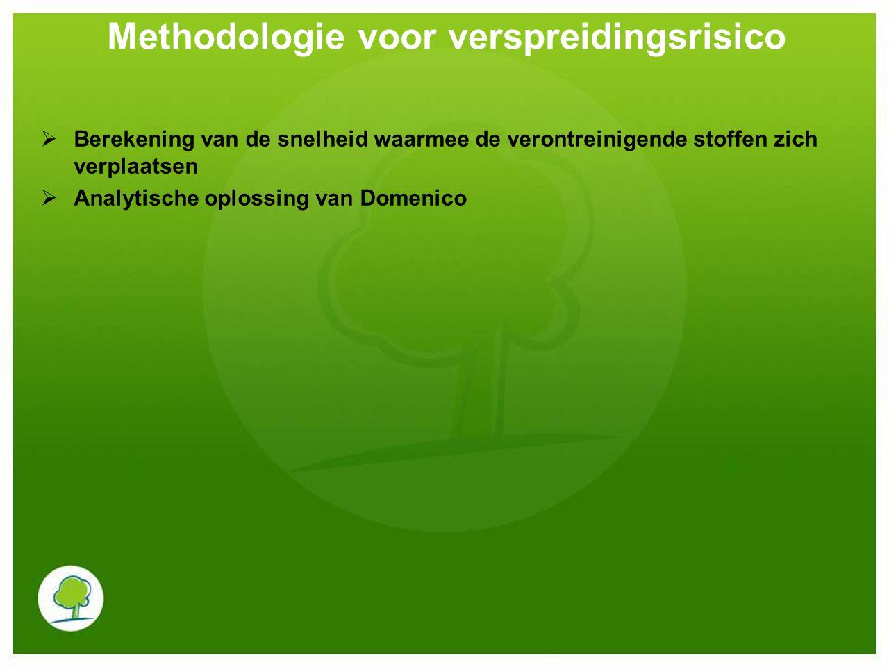  Berekening van de snelheid waarmee de verontreinigende stoffen zich verplaatsen Horizontale stromingssnelheid van het grondwater: Vd = -K.dh/dl Waarbij:Vd: Darcy-snelheid (m/dag) K: hydraulische geleidbaarheid (m/dag) Dh/dl: hydraulische gradiënt Methodologie voor verspreidingsrisico