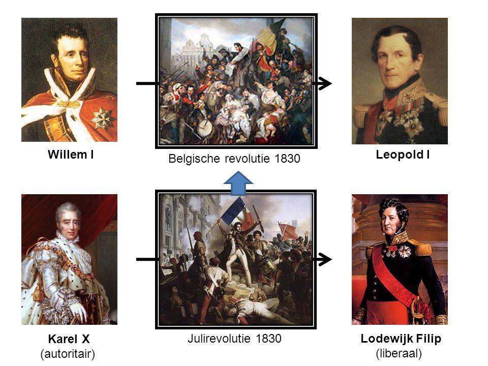 Julirevolutie 1830 Karel X Lodewijk Filip (liberaal) (autoritair) Belgische revolutie 1830 Willem ILeopold I