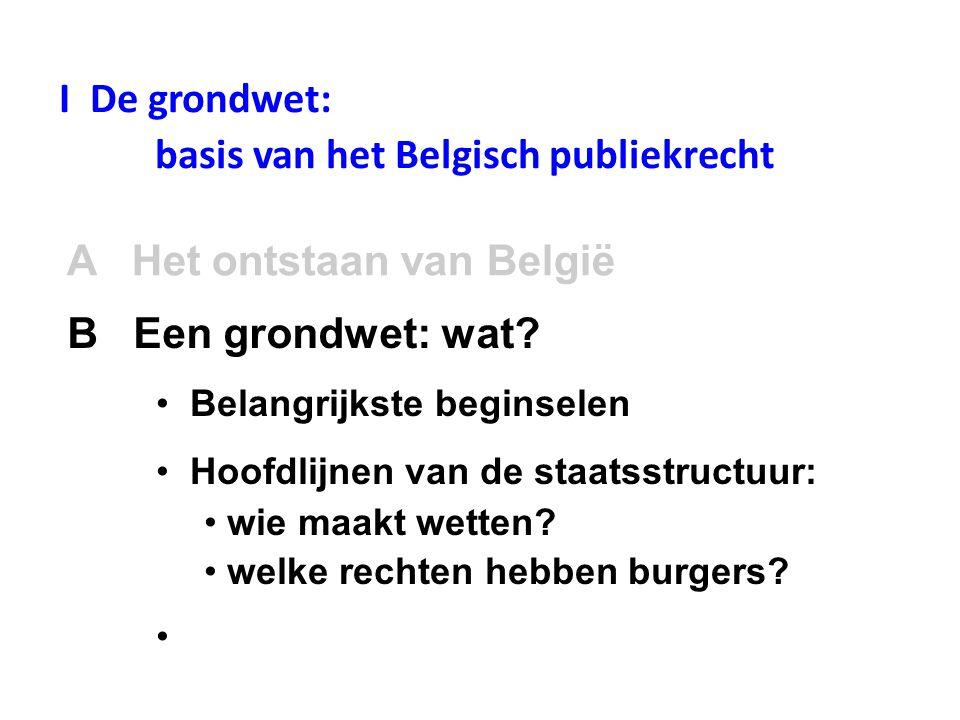 I De grondwet: basis van het Belgisch publiekrecht A Het ontstaan van België • Belangrijkste beginselen • Hoofdlijnen van de staatsstructuur: • wie maakt wetten.