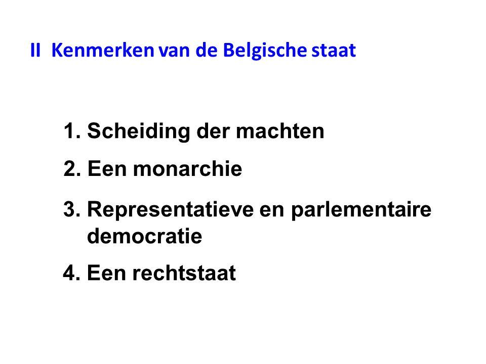 II Kenmerken van de Belgische staat 1. Scheiding der machten 2.
