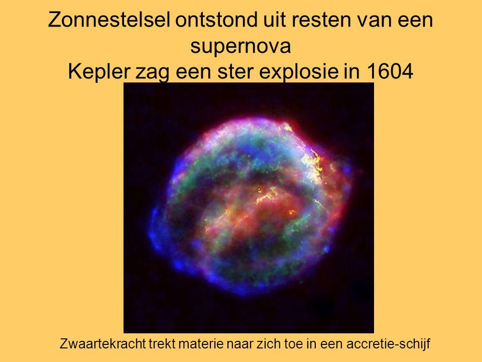 Zonnestelsel ontstond uit resten van een supernova Kepler zag een ster explosie in 1604 Zwaartekracht trekt materie naar zich toe in een accretie-schi