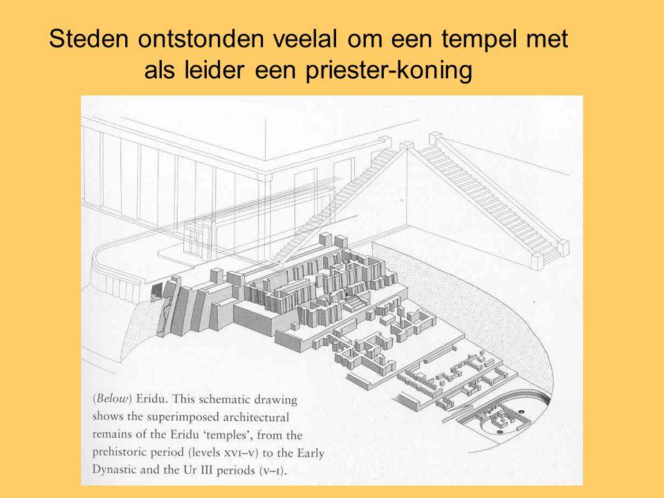 Steden ontstonden veelal om een tempel met als leider een priester-koning