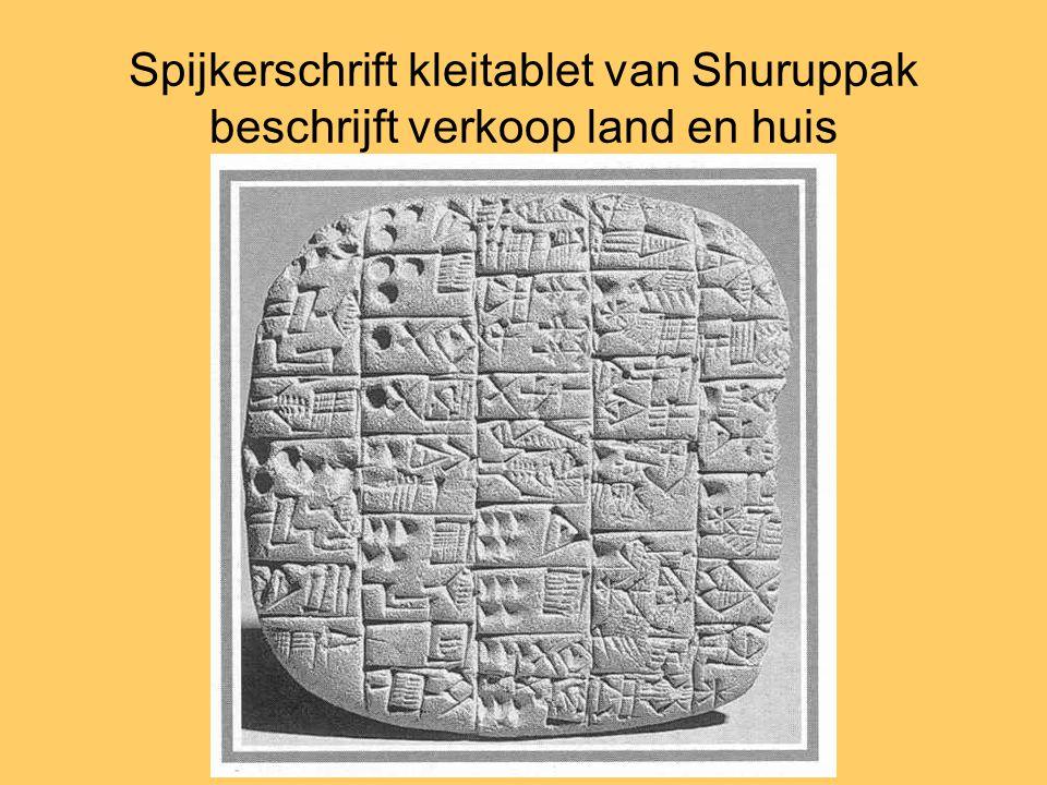 Spijkerschrift kleitablet van Shuruppak beschrijft verkoop land en huis