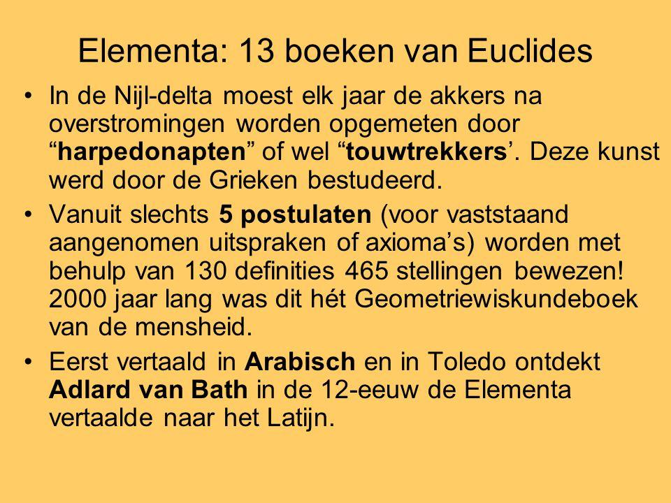"""Elementa: 13 boeken van Euclides •In de Nijl-delta moest elk jaar de akkers na overstromingen worden opgemeten door """"harpedonapten"""" of wel """"touwtrekke"""