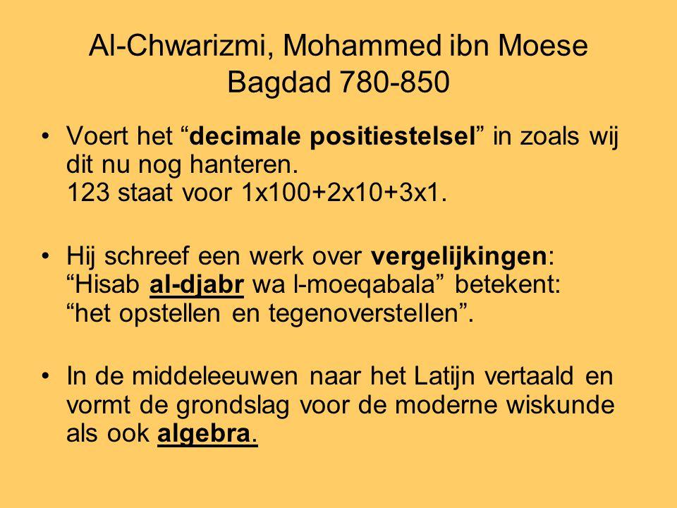 """Al-Chwarizmi, Mohammed ibn Moese Bagdad 780-850 •Voert het """"decimale positiestelsel"""" in zoals wij dit nu nog hanteren. 123 staat voor 1x100+2x10+3x1."""