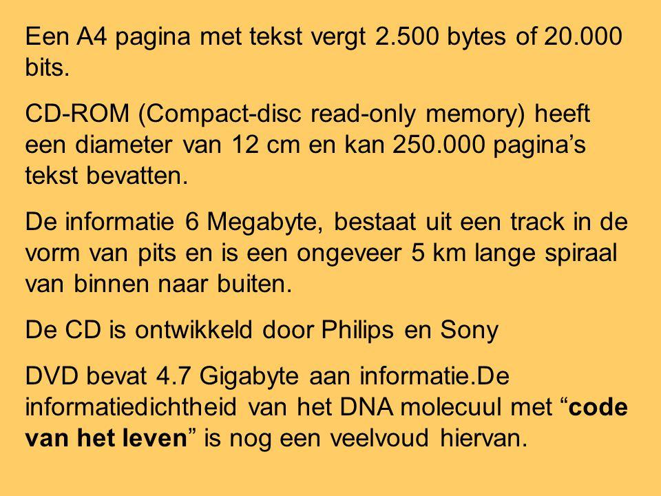 Een A4 pagina met tekst vergt 2.500 bytes of 20.000 bits. CD-ROM (Compact-disc read-only memory) heeft een diameter van 12 cm en kan 250.000 pagina's