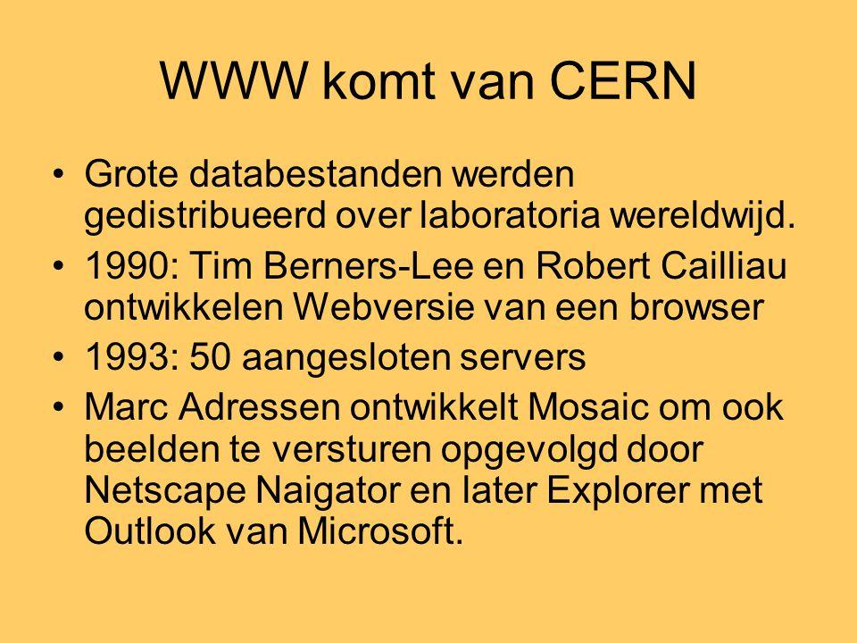 WWW komt van CERN •Grote databestanden werden gedistribueerd over laboratoria wereldwijd. •1990: Tim Berners-Lee en Robert Cailliau ontwikkelen Webver