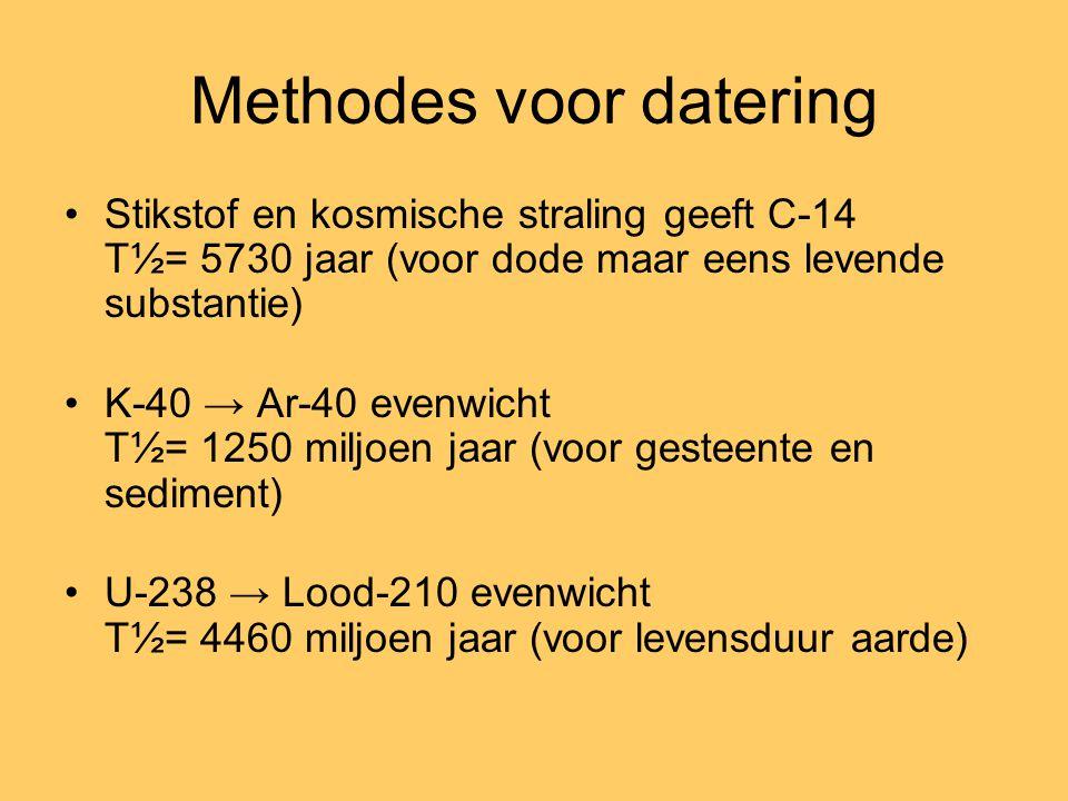Methodes voor datering •Stikstof en kosmische straling geeft C-14 T½= 5730 jaar (voor dode maar eens levende substantie) •K-40 → Ar-40 evenwicht T½= 1