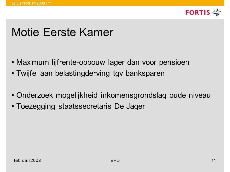 EFD | februari 2008 | 11 februari 2008EFD11 Motie Eerste Kamer •Maximum lijfrente-opbouw lager dan voor pensioen •Twijfel aan belastingderving tgv ban