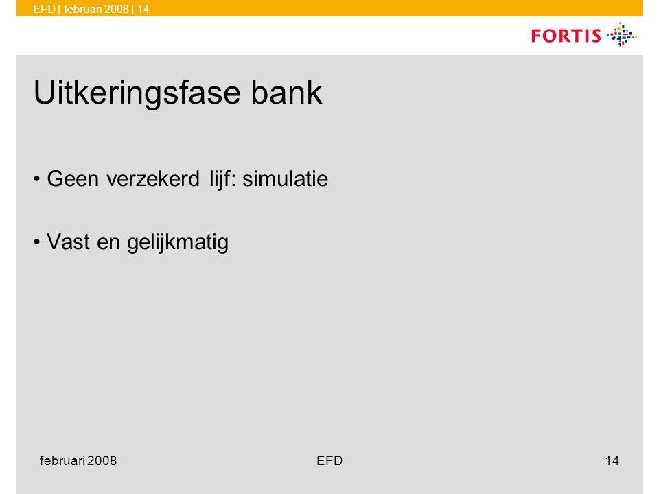EFD | februari 2008 | 14 februari 2008EFD14 Uitkeringsfase bank •Geen verzekerd lijf: simulatie •Vast en gelijkmatig