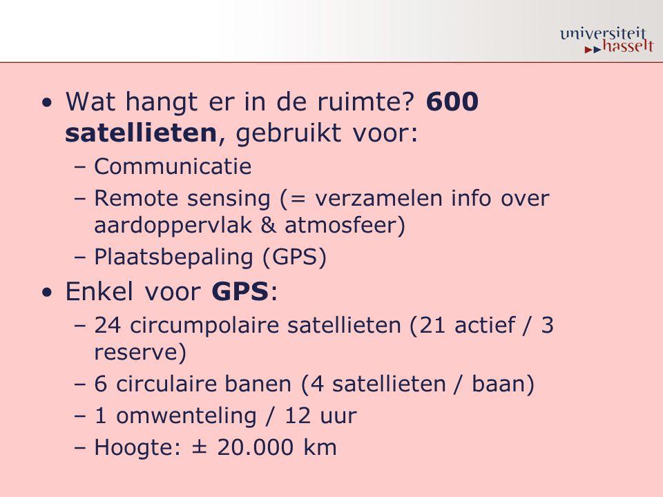 •Wat hangt er in de ruimte? 600 satellieten, gebruikt voor: –Communicatie –Remote sensing (= verzamelen info over aardoppervlak & atmosfeer) –Plaatsbe