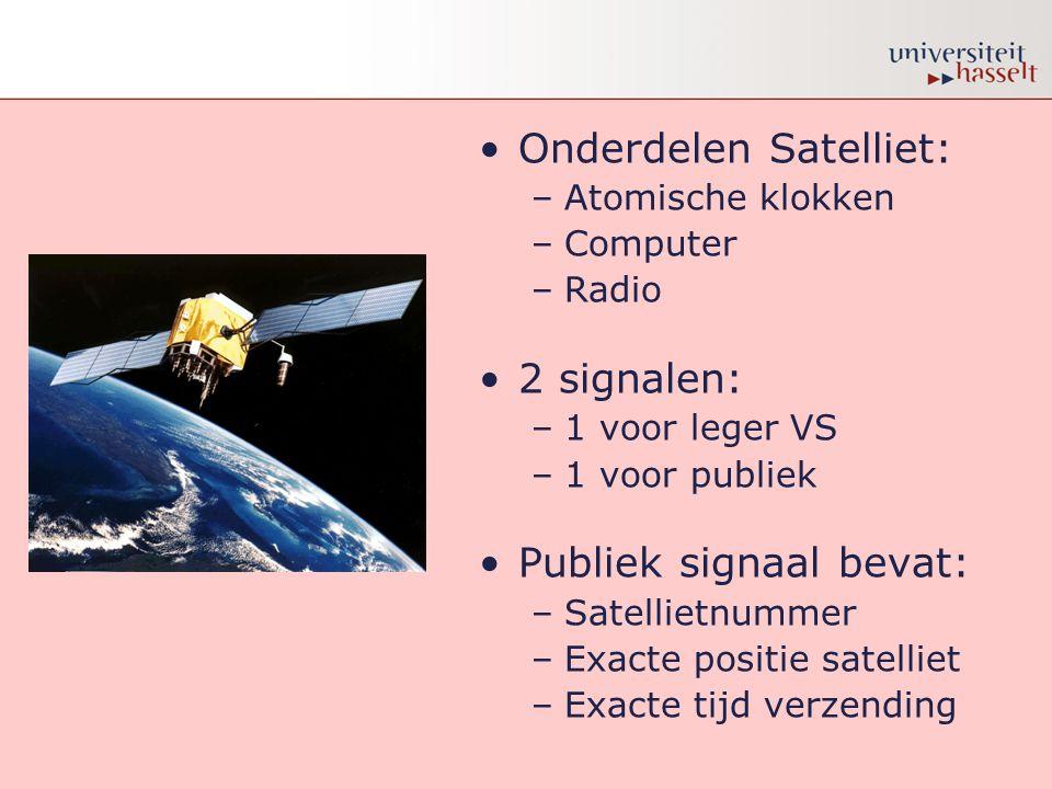 •Onderdelen Satelliet: –Atomische klokken –Computer –Radio •2 signalen: –1 voor leger VS –1 voor publiek •Publiek signaal bevat: –Satellietnummer –Exa