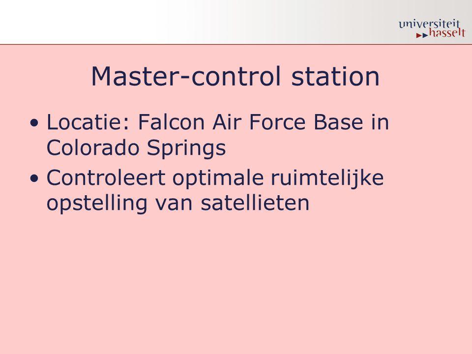 Master-control station •Locatie: Falcon Air Force Base in Colorado Springs •Controleert optimale ruimtelijke opstelling van satellieten