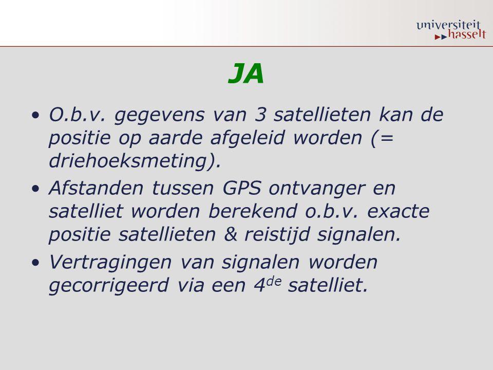 JA •O.b.v. gegevens van 3 satellieten kan de positie op aarde afgeleid worden (= driehoeksmeting). •Afstanden tussen GPS ontvanger en satelliet worden