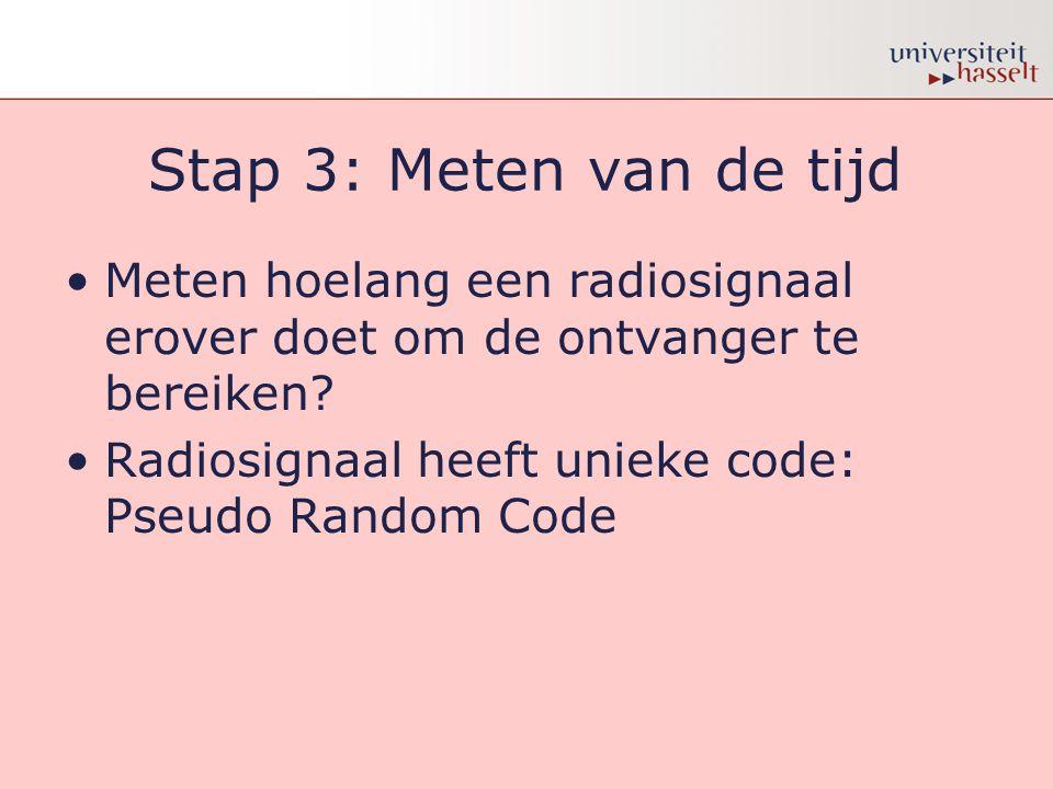Stap 3: Meten van de tijd •Meten hoelang een radiosignaal erover doet om de ontvanger te bereiken? •Radiosignaal heeft unieke code: Pseudo Random Code