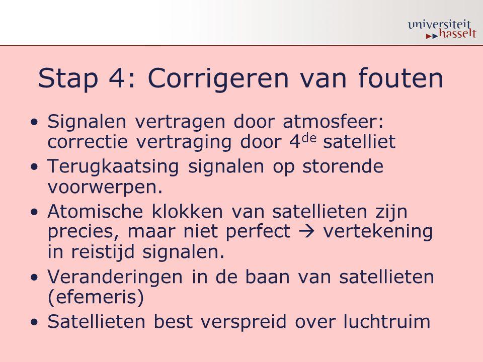 Stap 4: Corrigeren van fouten •Signalen vertragen door atmosfeer: correctie vertraging door 4 de satelliet •Terugkaatsing signalen op storende voorwer