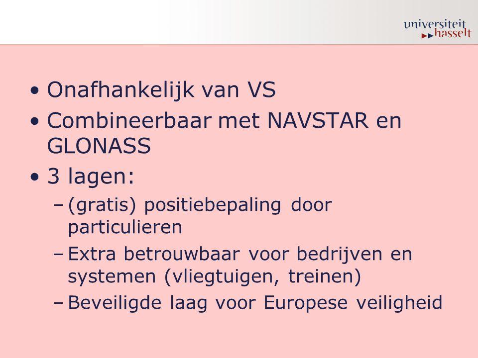 •Onafhankelijk van VS •Combineerbaar met NAVSTAR en GLONASS •3 lagen: –(gratis) positiebepaling door particulieren –Extra betrouwbaar voor bedrijven e