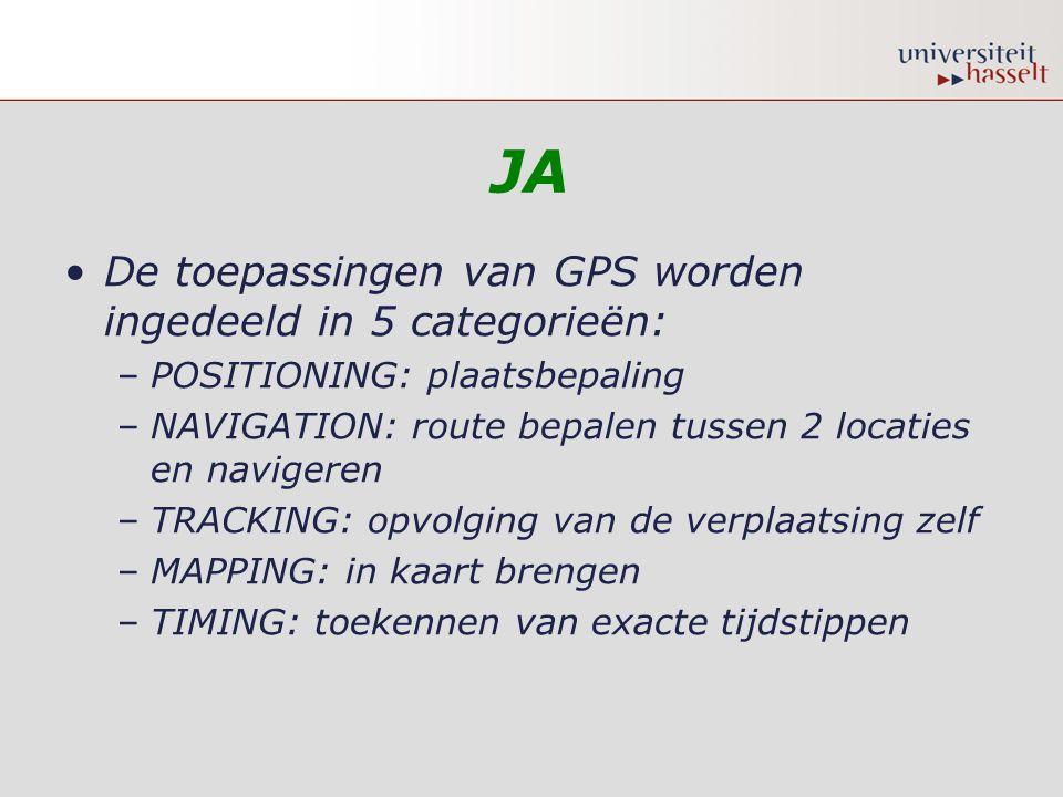 JA •De toepassingen van GPS worden ingedeeld in 5 categorieën: –POSITIONING: plaatsbepaling –NAVIGATION: route bepalen tussen 2 locaties en navigeren