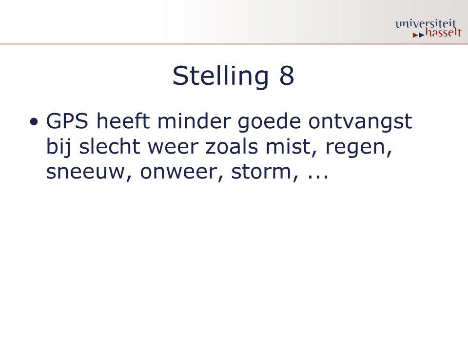 Stelling 8 •GPS heeft minder goede ontvangst bij slecht weer zoals mist, regen, sneeuw, onweer, storm,...