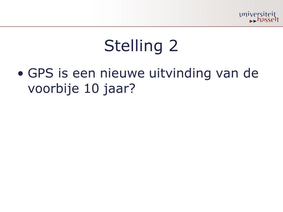 Stelling 2 •GPS is een nieuwe uitvinding van de voorbije 10 jaar?
