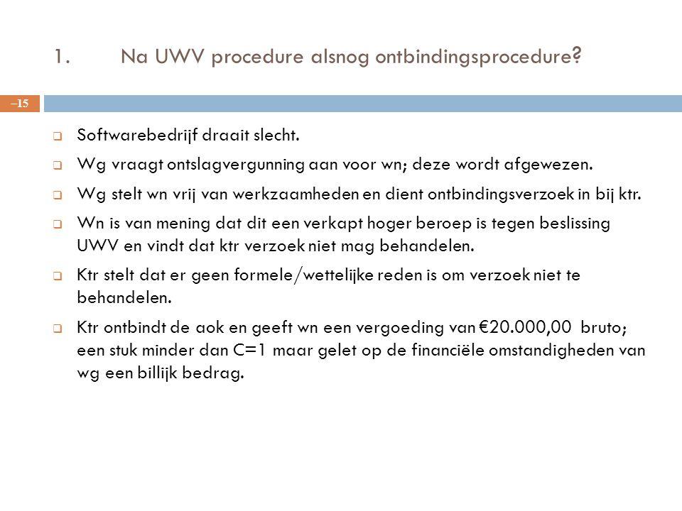 1.Na UWV procedure alsnog ontbindingsprocedure ?  Softwarebedrijf draait slecht.  Wg vraagt ontslagvergunning aan voor wn; deze wordt afgewezen.  W