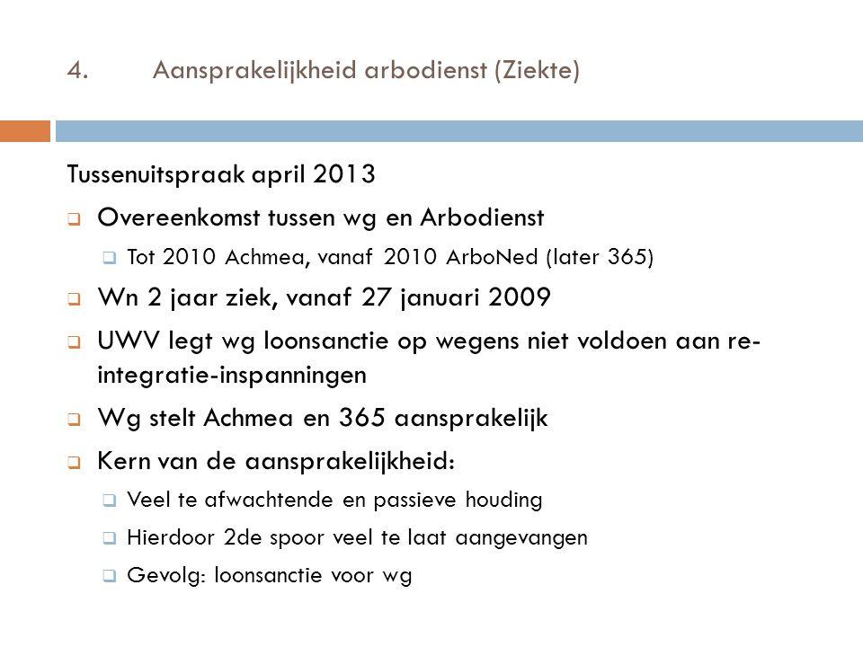 4.Aansprakelijkheid arbodienst (Ziekte) Tussenuitspraak april 2013  Overeenkomst tussen wg en Arbodienst  Tot 2010 Achmea, vanaf 2010 ArboNed (later