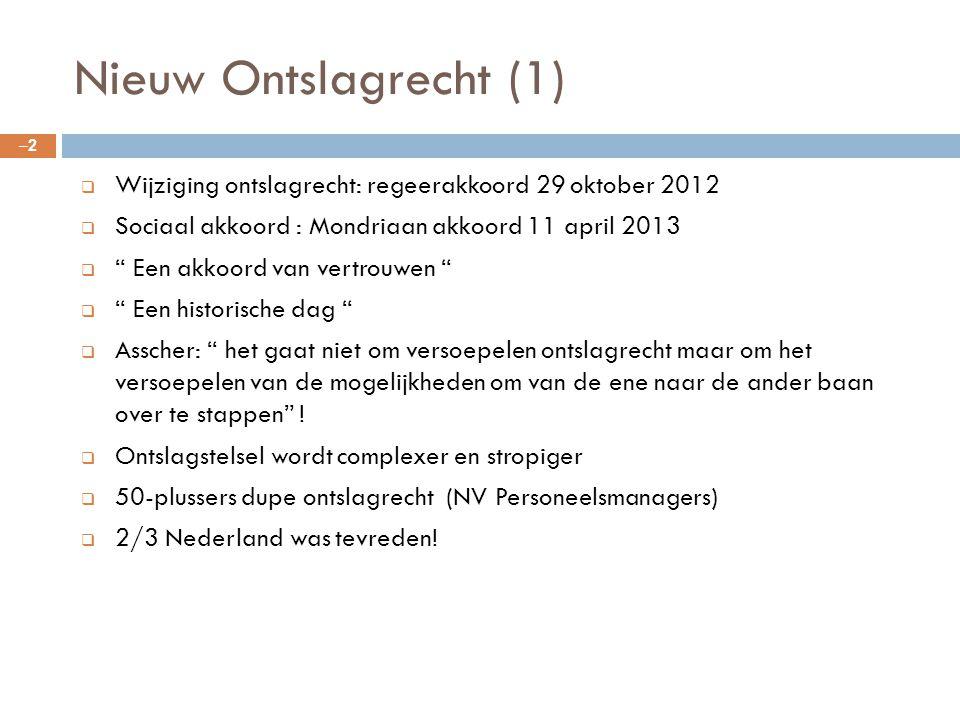 """Nieuw Ontslagrecht (1) –2–2  Wijziging ontslagrecht: regeerakkoord 29 oktober 2012  Sociaal akkoord : Mondriaan akkoord 11 april 2013  """" Een akkoor"""