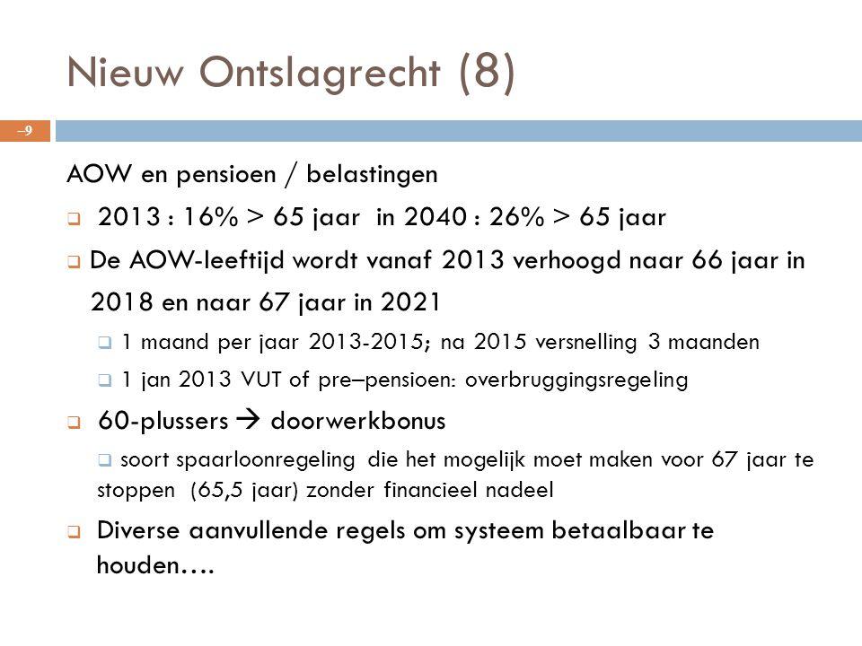 Nieuw Ontslagrecht (8) AOW en pensioen / belastingen  2013 : 16% > 65 jaar in 2040 : 26% > 65 jaar  De AOW-leeftijd wordt vanaf 2013 verhoogd naar 6