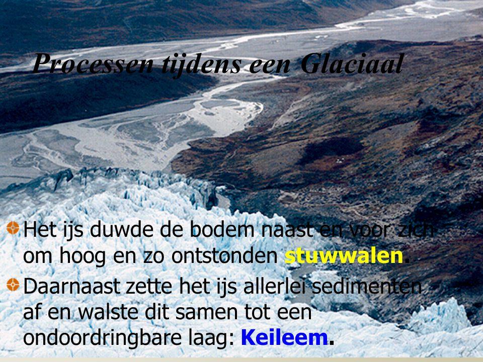 Processen tijdens een Glaciaal Het ijs duwde de bodem naast en voor zich om hoog en zo ontstonden stuwwalen.