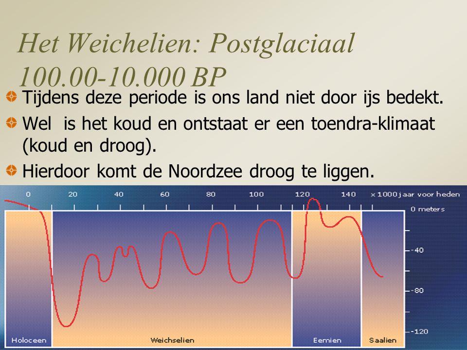 Het Weichelien: Postglaciaal 100.00-10.000 BP Tijdens deze periode is ons land niet door ijs bedekt.