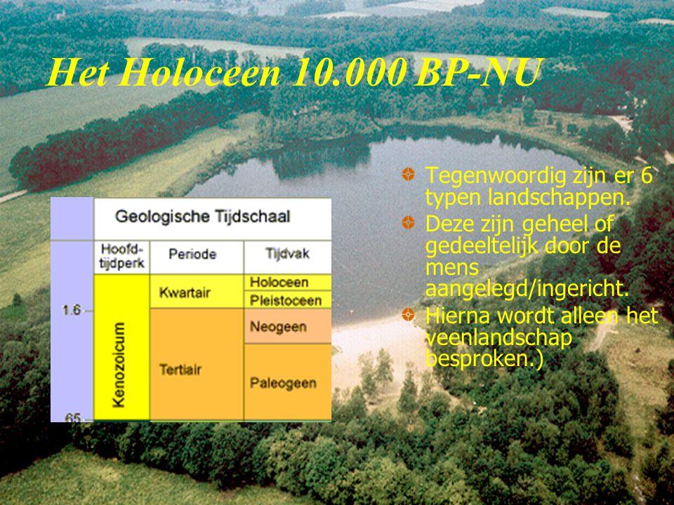 Het Holoceen 10.000 BP-NU Tegenwoordig zijn er 6 typen landschappen.