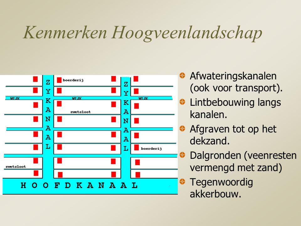 Kenmerken Hoogveenlandschap Afwateringskanalen (ook voor transport).