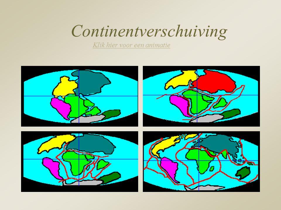 Continentverschuiving Klik hier voor een animatie Klik hier voor een animatie