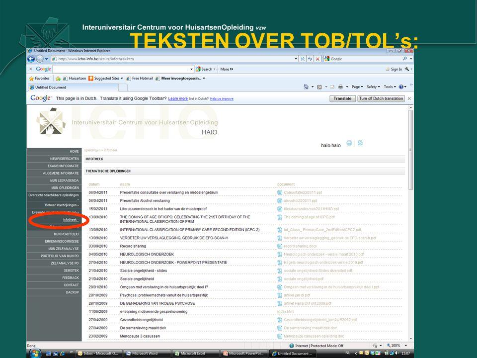 TEKSTEN OVER TOB/TOL's: