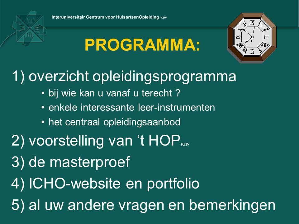 PROGRAMMA: 1) overzicht opleidingsprogramma •bij wie kan u vanaf u terecht ? •enkele interessante leer-instrumenten •het centraal opleidingsaanbod 2)