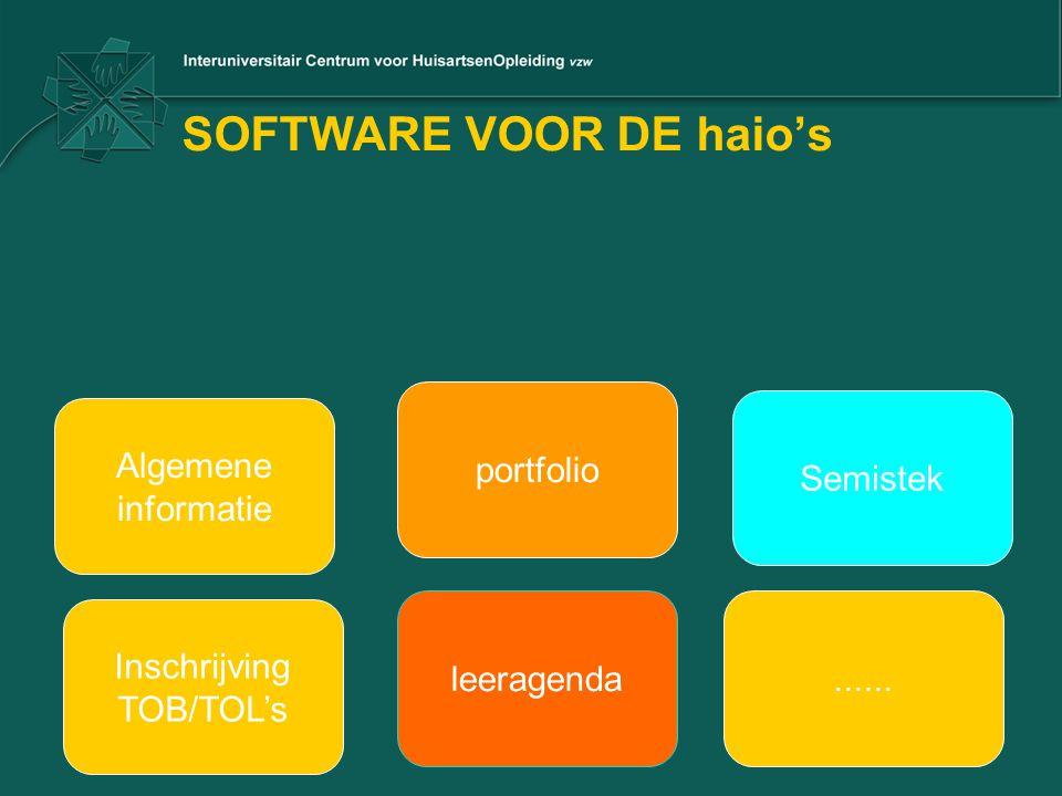 SOFTWARE VOOR DE haio's Algemene informatie portfolio Semistek Inschrijving TOB/TOL's leeragenda......