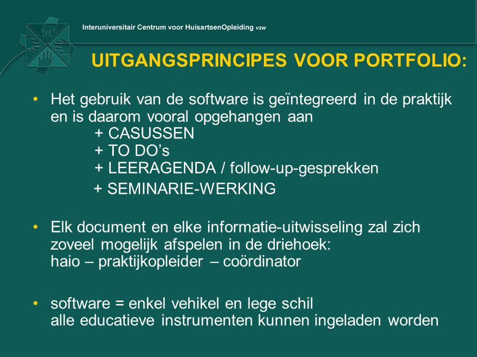 UITGANGSPRINCIPES VOOR PORTFOLIO: •Het gebruik van de software is geïntegreerd in de praktijk en is daarom vooral opgehangen aan + CASUSSEN + TO DO's