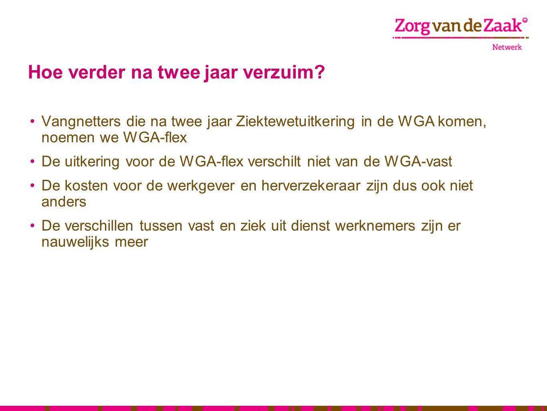 Hoe verder na twee jaar verzuim? •Vangnetters die na twee jaar Ziektewetuitkering in de WGA komen, noemen we WGA-flex •De uitkering voor de WGA-flex v