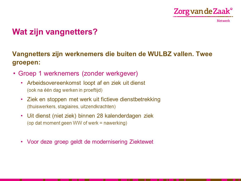 Wat zijn vangnetters? Vangnetters zijn werknemers die buiten de WULBZ vallen. Twee groepen: •Groep 1 werknemers (zonder werkgever) •Arbeidsovereenkoms