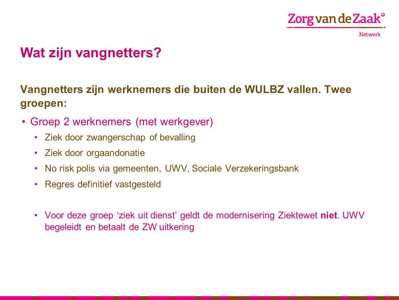 Wat zijn vangnetters? Vangnetters zijn werknemers die buiten de WULBZ vallen. Twee groepen: •Groep 2 werknemers (met werkgever) •Ziek door zwangerscha
