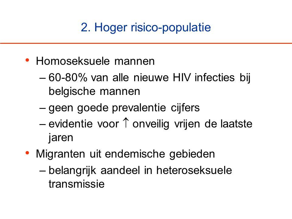 2. Hoger risico-populatie • Homoseksuele mannen –60-80% van alle nieuwe HIV infecties bij belgische mannen –geen goede prevalentie cijfers –evidentie