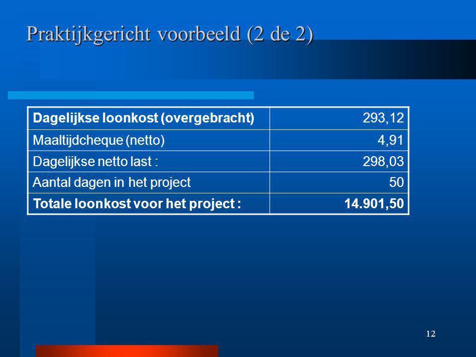 12 Praktijkgericht voorbeeld (2 de 2) Dagelijkse loonkost (overgebracht)293,12 Maaltijdcheque (netto)4,91 Dagelijkse netto last :298,03 Aantal dagen in het project50 Totale loonkost voor het project :14.901,50