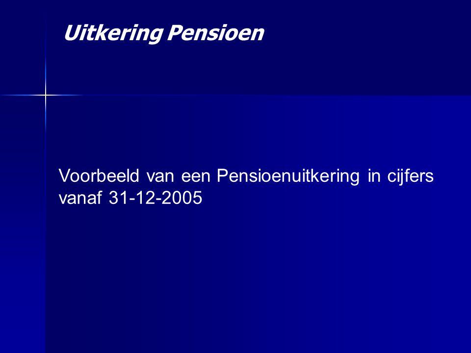 Uitkering Pensioen Voorbeeld van een Pensioenuitkering in cijfers vanaf 31-12-2005